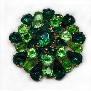 Vintage Rhinestone Domed Brooch Pin Green 2 Inch